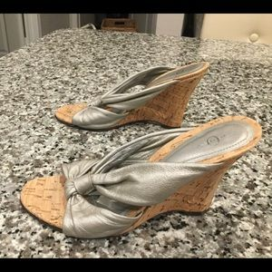 Silver/Gray Leather Joey Slip ons Size 8.5
